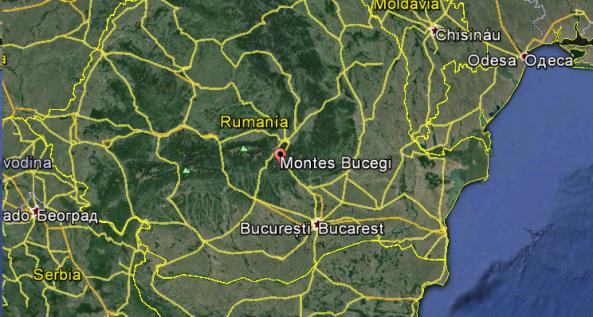 Ubicación de los Montes Bucegi en Rumania